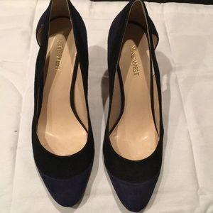 Navy and Black Suede Heels